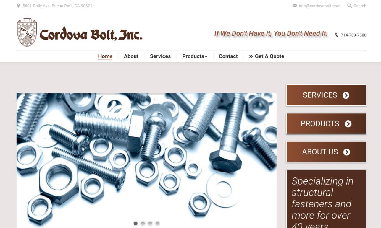 Cordova Bolt Inc Fastener Manufacturers